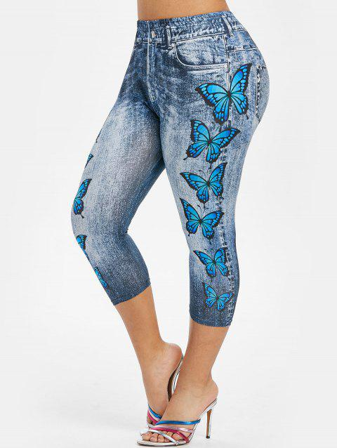 Plus Size 3D Jean Print Butterfly Cropped Jeggings