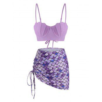 Lace-up Cinched Push Up Mermaid Three Piece Swimsuit