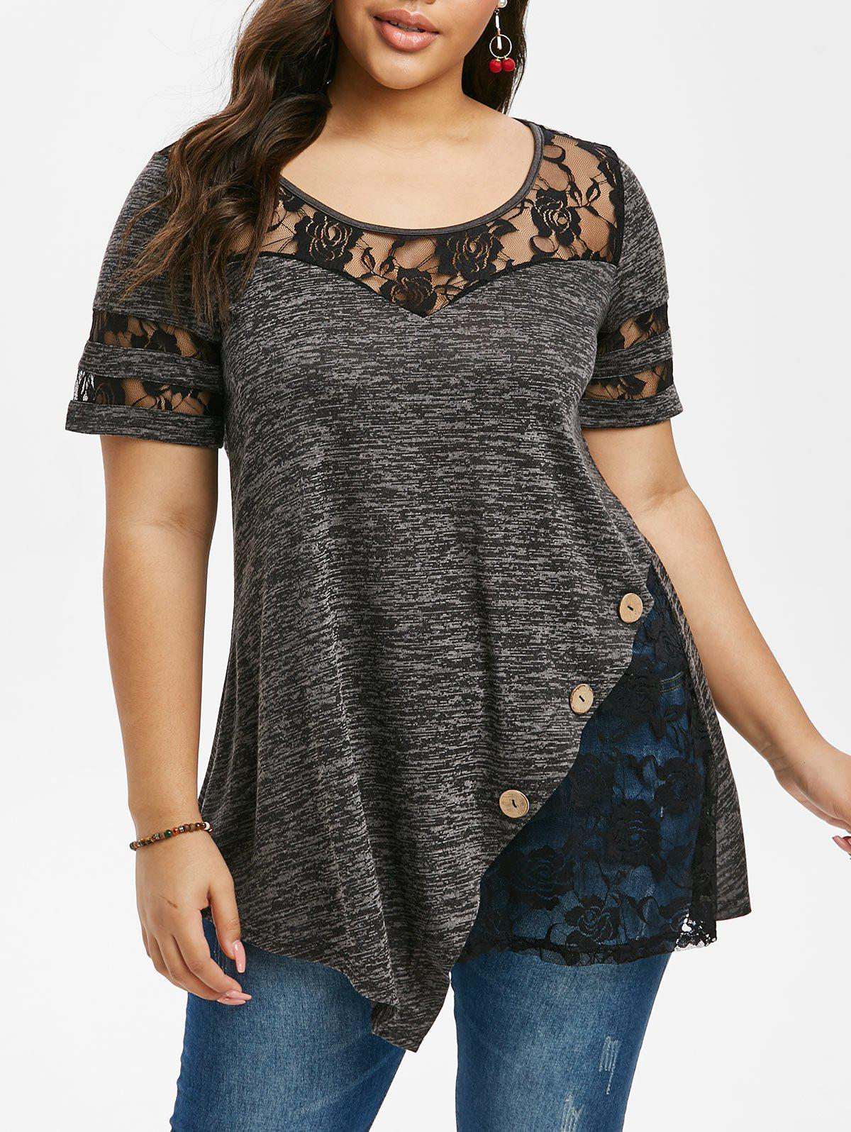 Plus Size Lace Insert Space Dye T Shirt - DARK SLATE GREY 4X