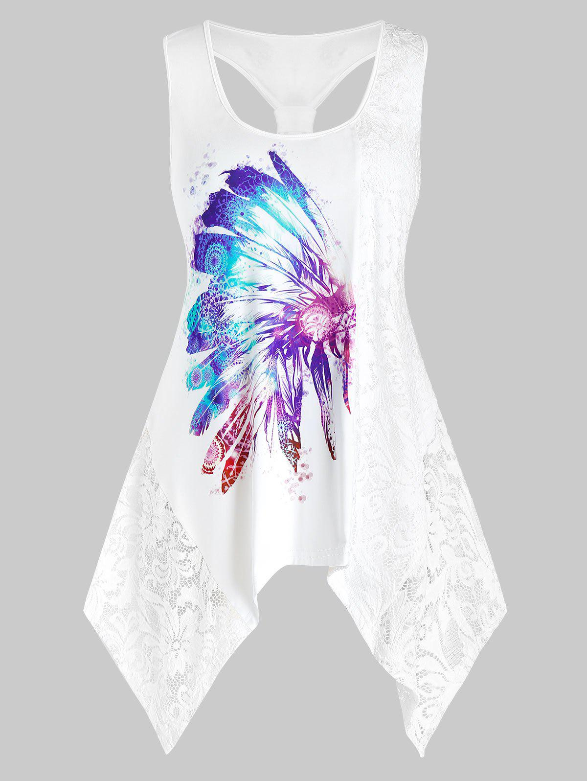 Plus Size Feather Print Lace Insert Back Knot Tank Top - WHITE 5X