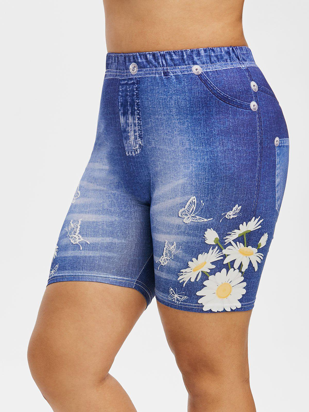 Plus Size 3D Butterfly Print High Rise Cycling Shorts - BLUEBERRY BLUE 5X