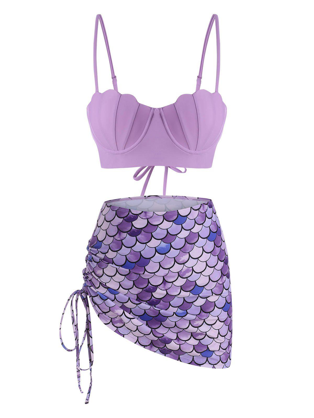 Lace-up Cinched Push Up Mermaid Three Piece Swimsuit - MAUVE 2XL