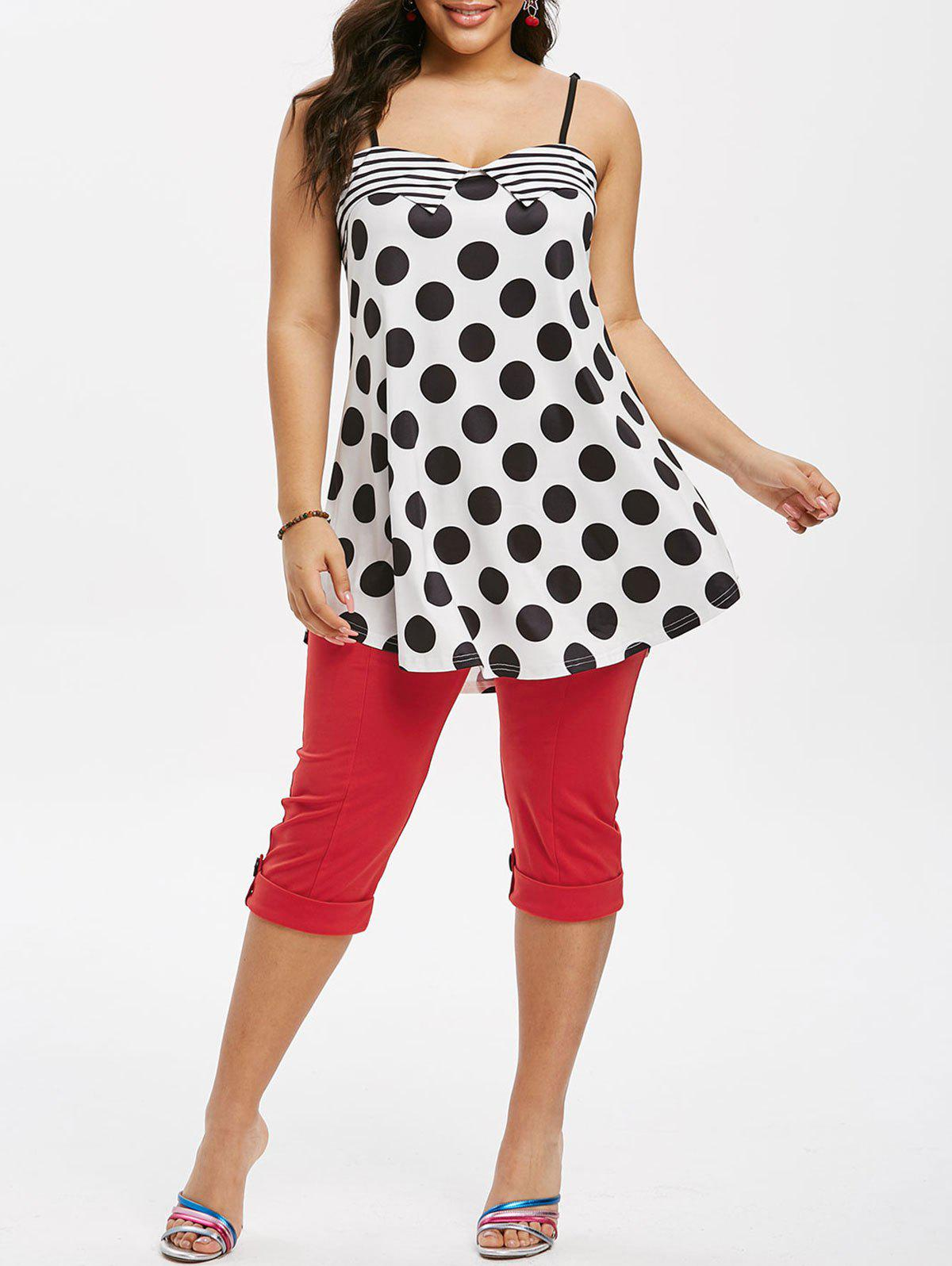 Plus Size Polka Dot Cami Top and Cropped Sailor Pants Set - multicolor L