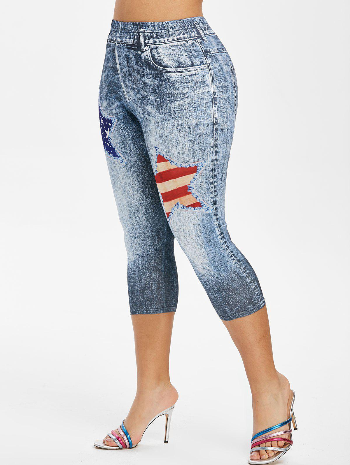Plus Size American Flag 3D Destroyed Jean Print Cropped Jeggings - BLUE GRAY 4X