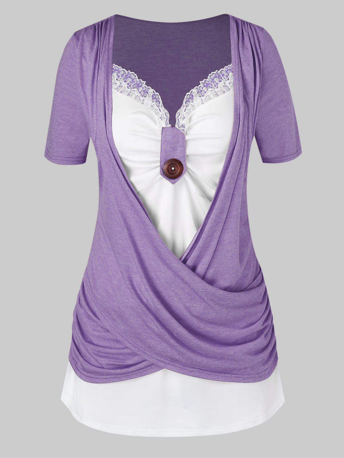 Plus Size Crossover Knotted Colorblock T Shirt - VIOLA PURPLE 4X