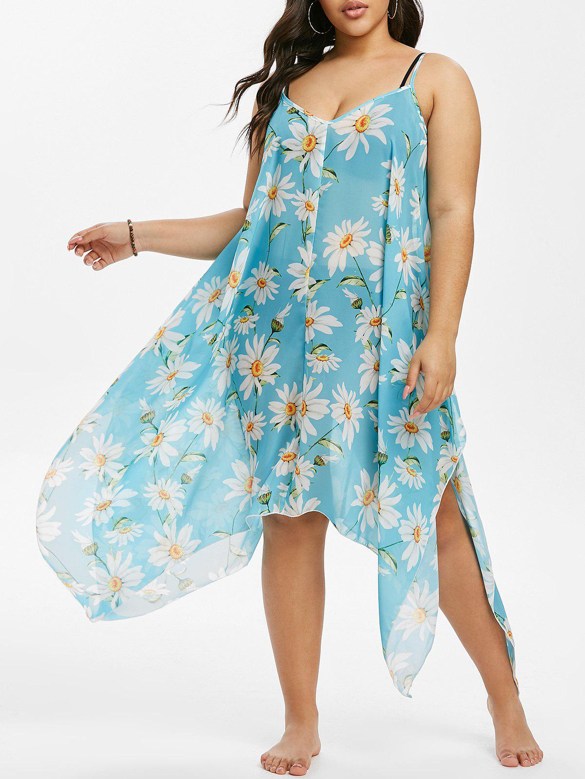 Daisy Floral Swing Handkerchief Beach Plus Size Dress - LIGHT AQUAMARINE 2X