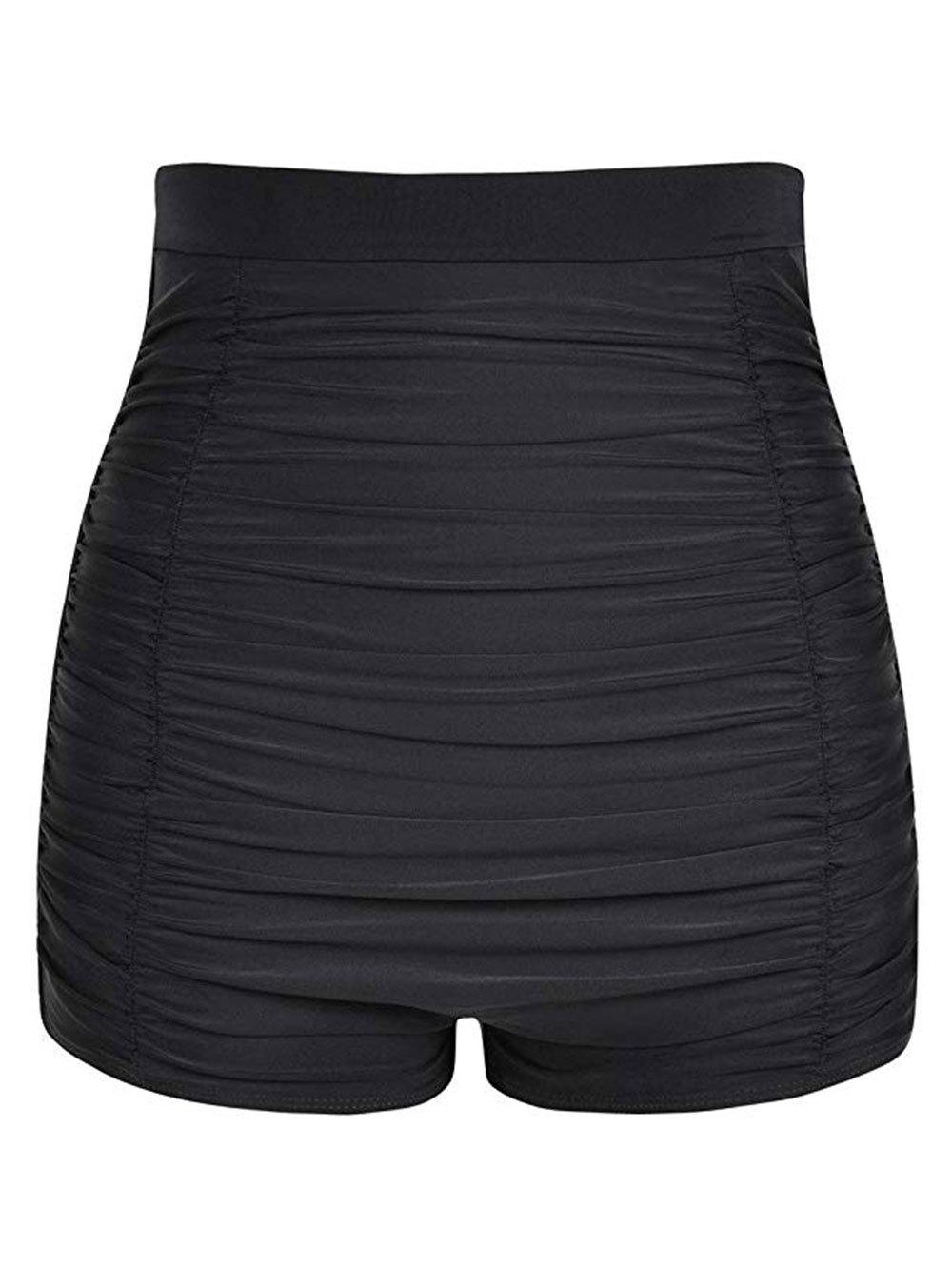 Ruched High Waisted Swim Bottom - BLACK L
