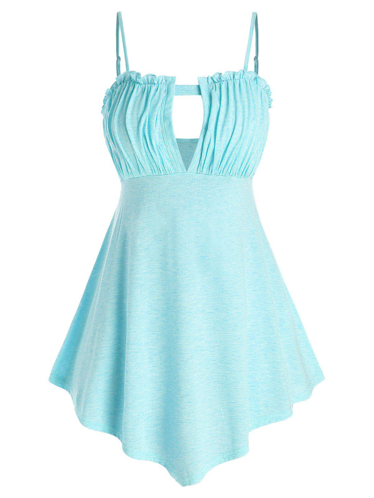 Plus Size Cutout Ruched Tank Top - LIGHT SKY BLUE L