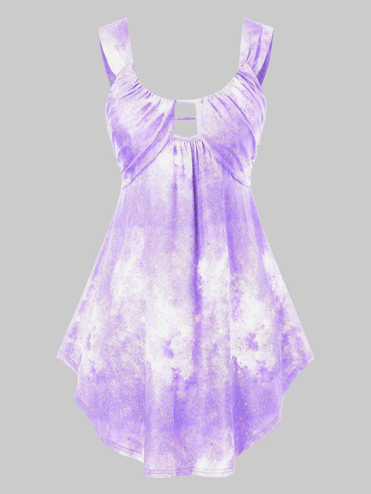 Plus Size 3D Galaxy Print Tie Dye Curved Tank Top - CROCUS PURPLE L