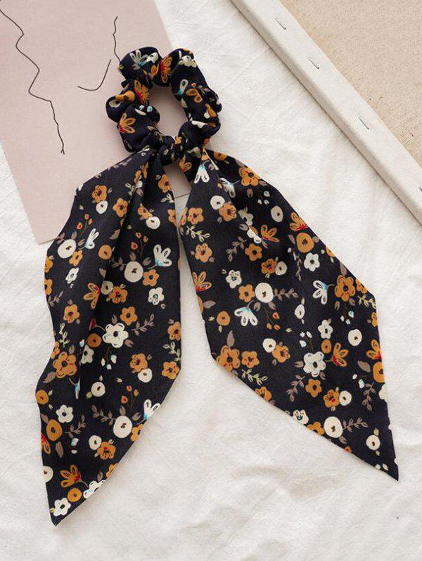 Floral Printed Bowknot Fabric Scrunchy - BLACK