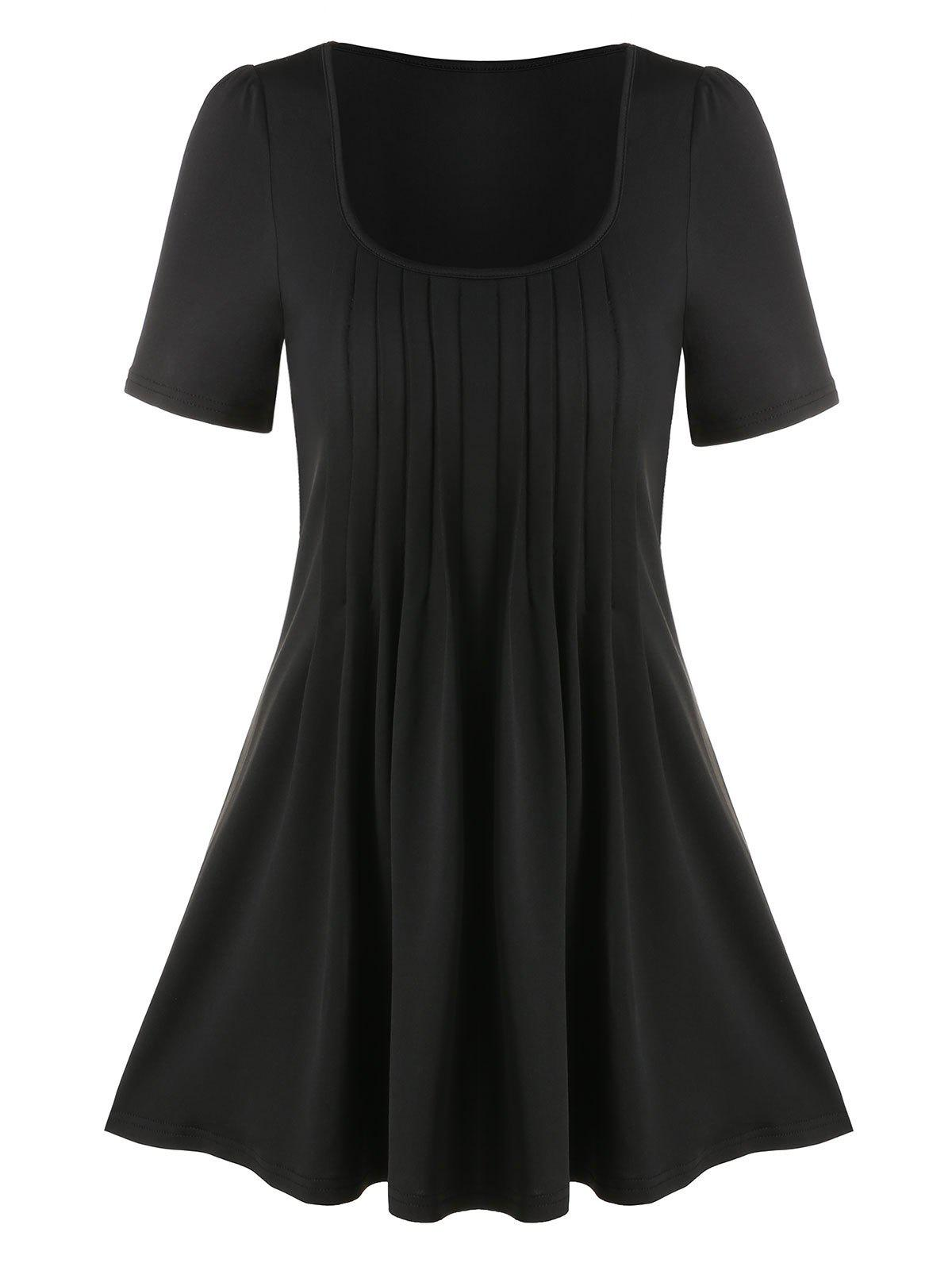 Plain Scoop Neck Pleated T Shirt - BLACK M