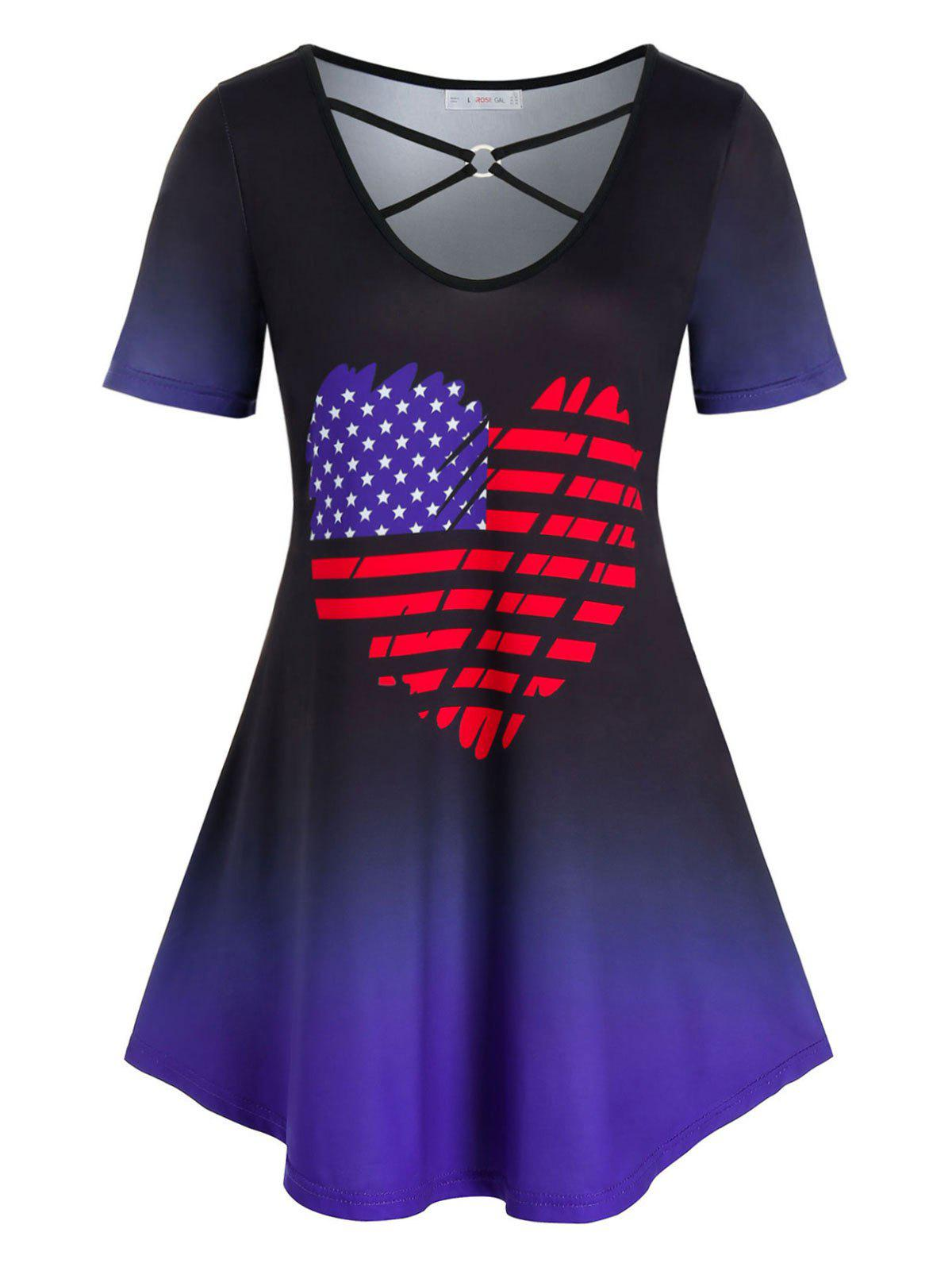 Plus Size American Flag Heart Ombre Tunic Tee - multicolor 3X