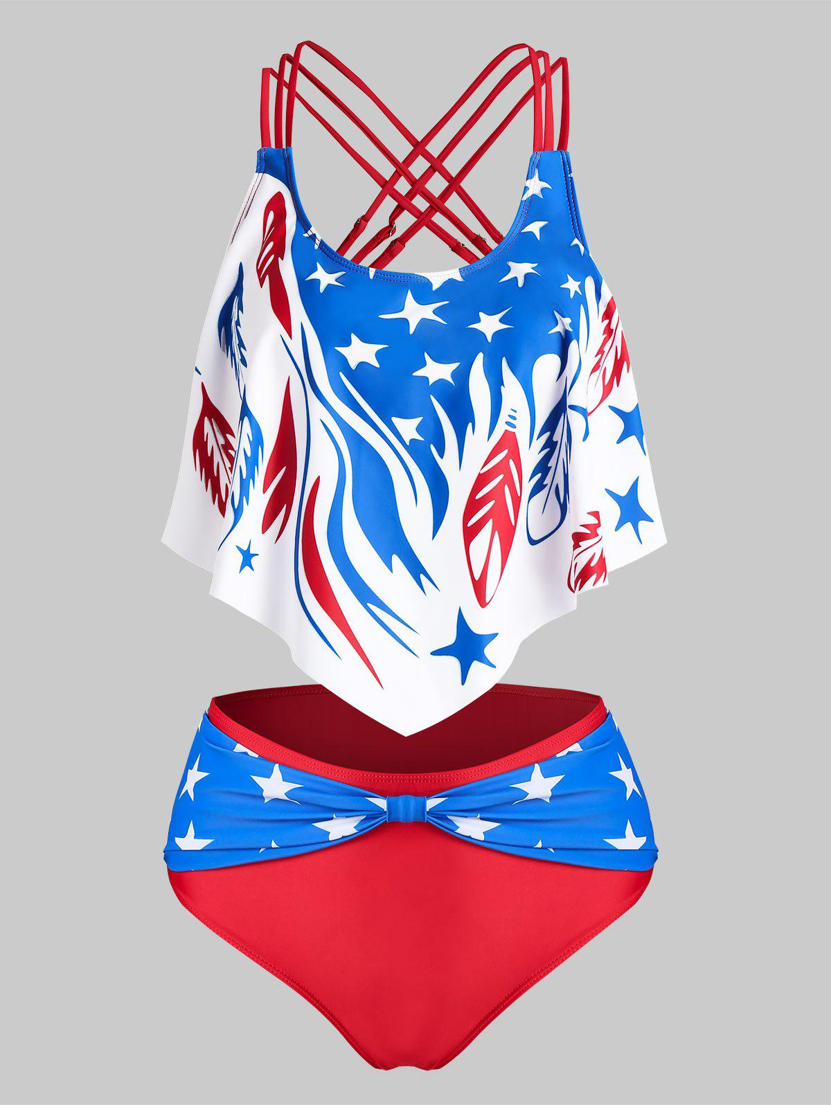 American Flag Print Strappy Padded Tankini Set - RED XL