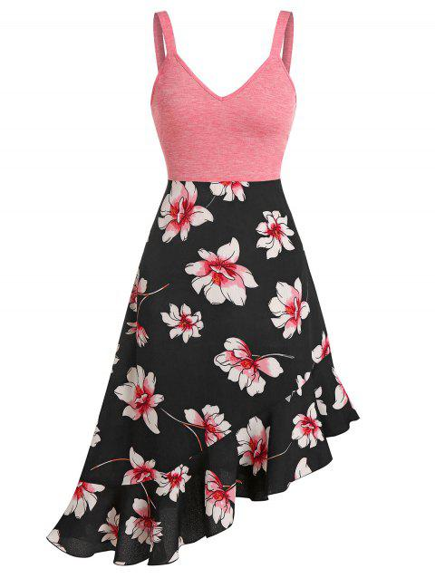 Floral Print Empire Waist Asymmetrical Cami Dress