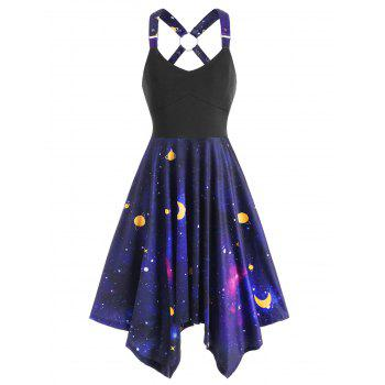 Galaxy Print Ring Asymmetrical Dress