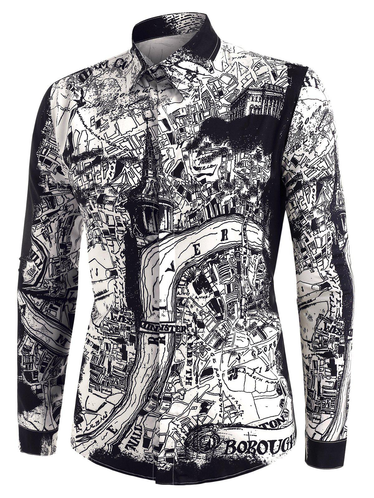 City Map Print Button Up Long Sleeve Shirt - multicolor M