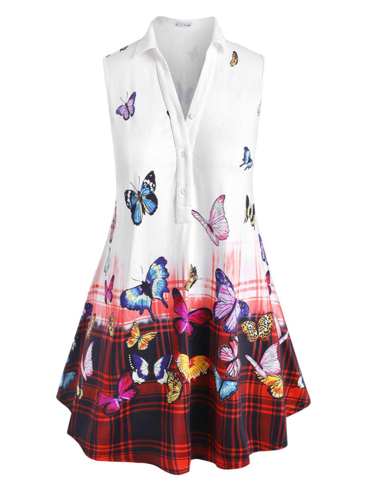 Plus Size Butterfly Print Ombre Plaid Tank Top - WHITE 5X