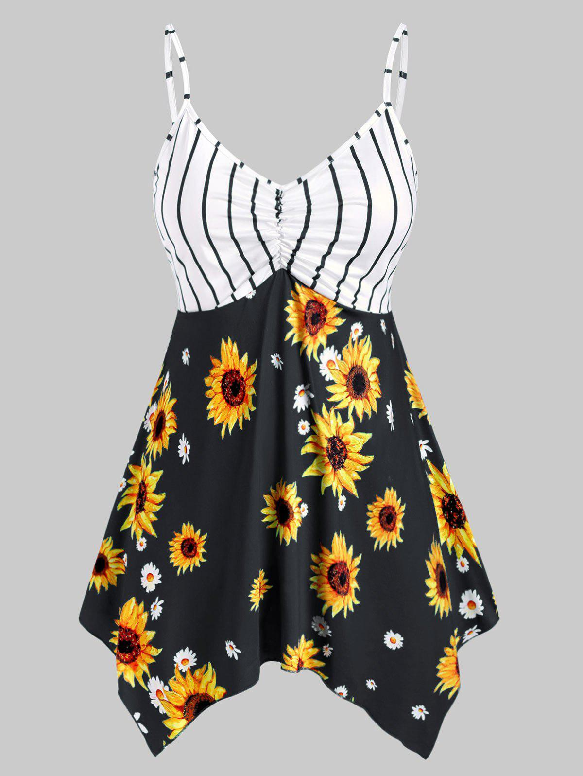 Plus Size Striped Sunflower Print Handkerchief Tank Top - BLACK L