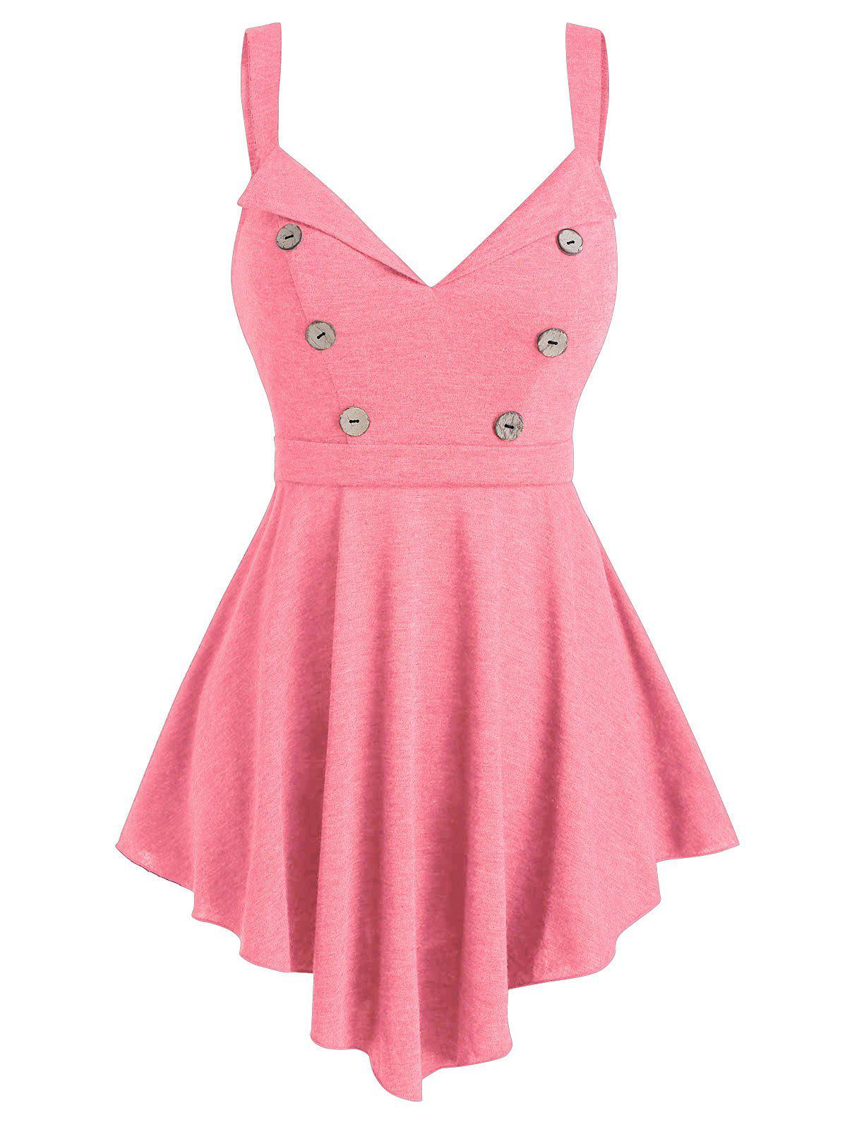 Fit And Flare V Neck Tunic Tank Top - PINK ROSE M
