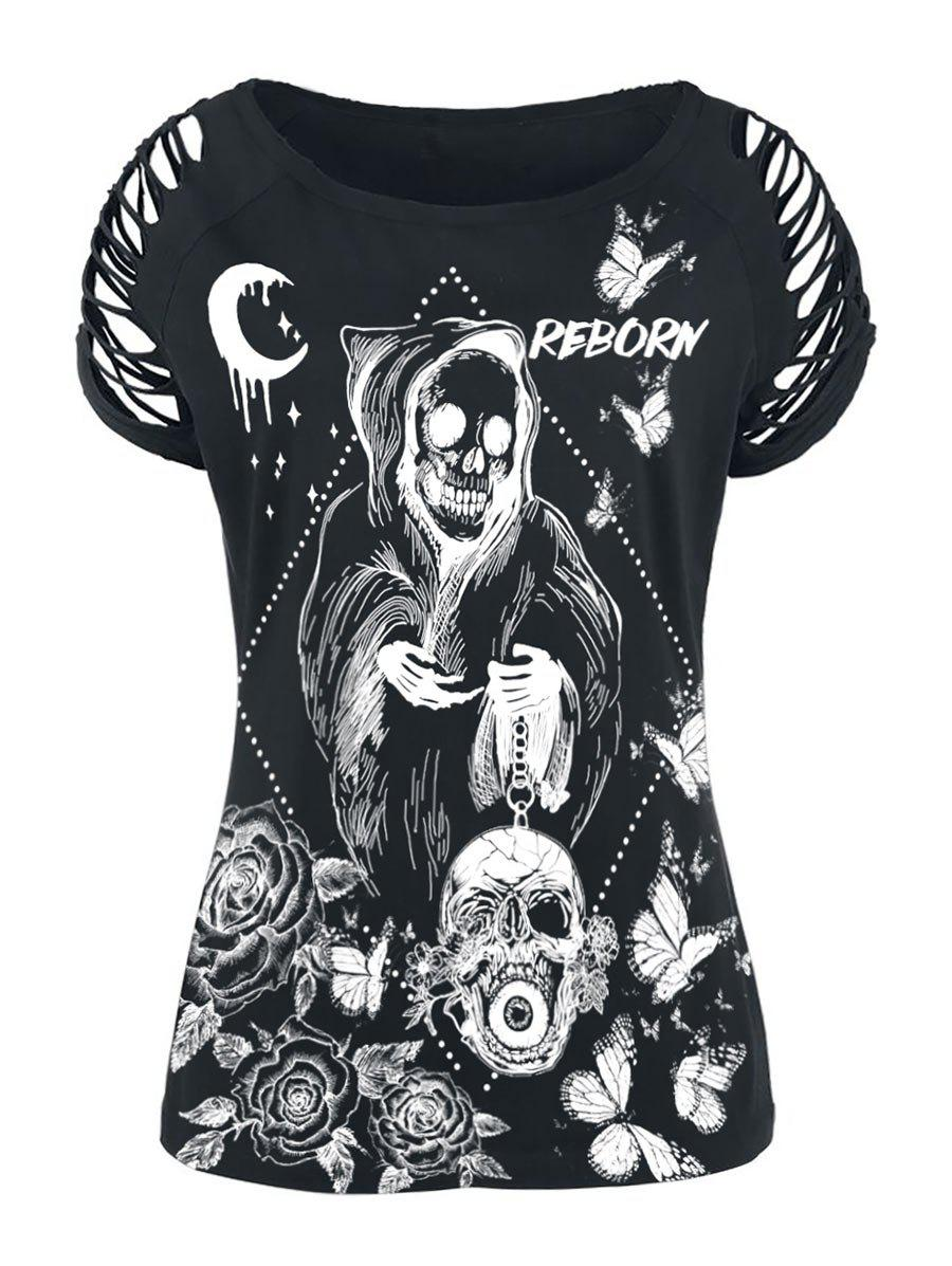 Plus Size Ladder Cut Skull Floral Print Gothic T Shirt - BLACK 2X