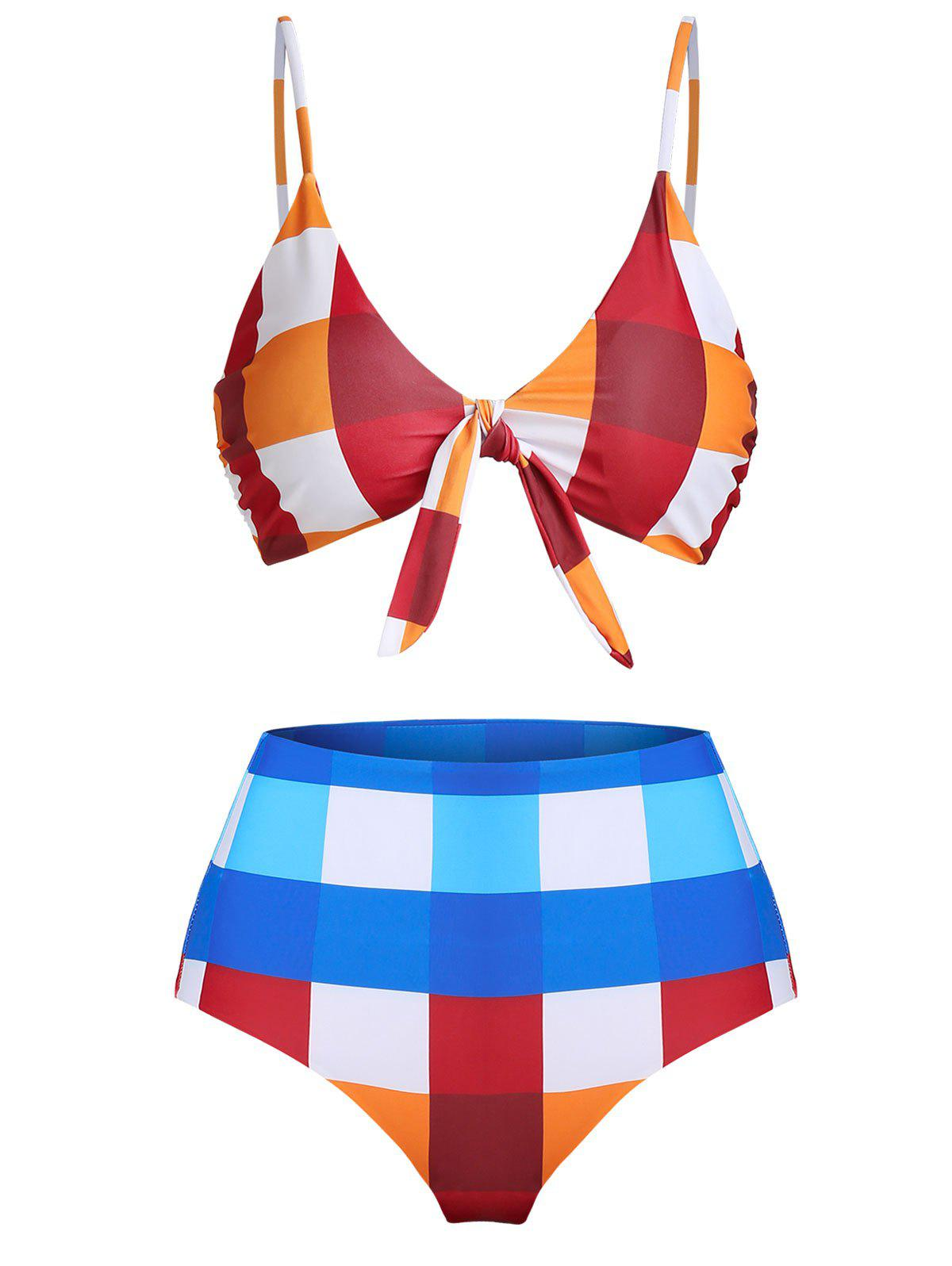 Plaid Print Front Knot Padded Bikini Swimsuit - multicolor A 3XL