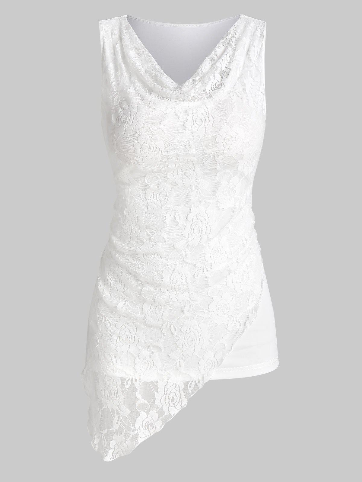 Plain Cowl Neck Lace Insert Longline Tank Top - WHITE L
