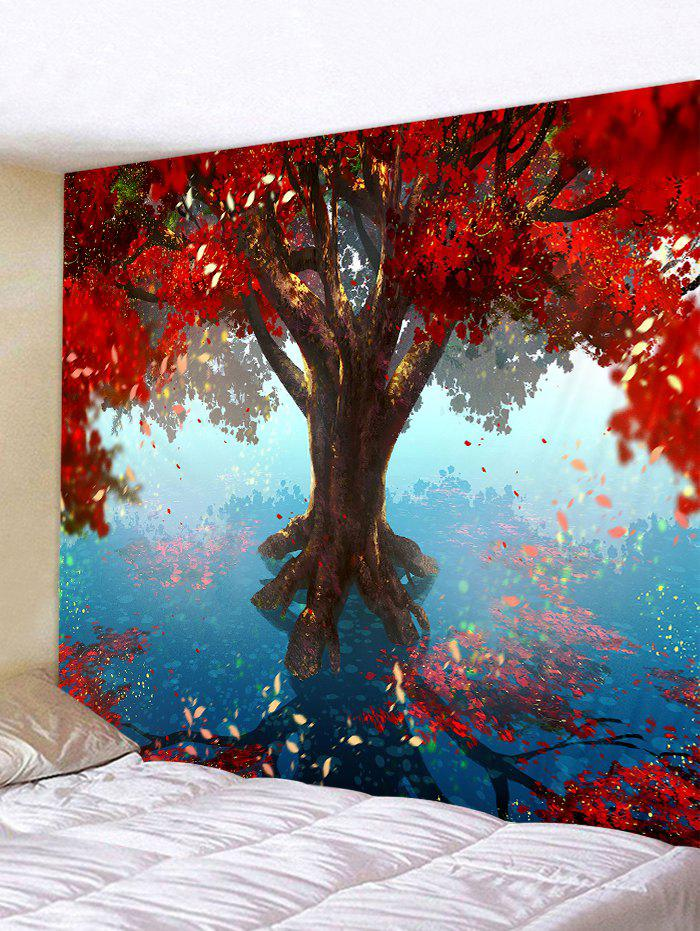 Tree Leaves Pattern Hanging Wall Tapestry - multicolor W59 X L51 INCH