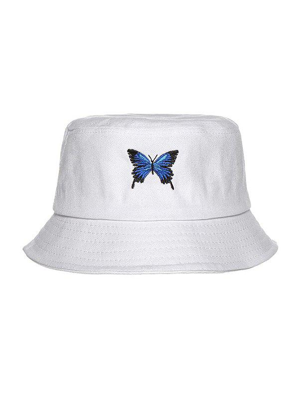 Butterfly Embroidery Casual Bucket Hat - WHITE