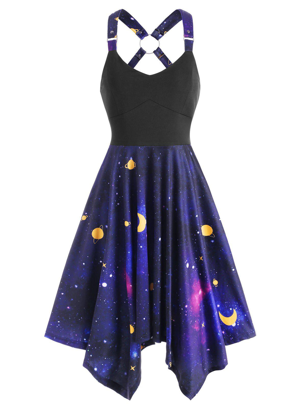Galaxy Print Ring Asymmetrical Dress - BLACK L