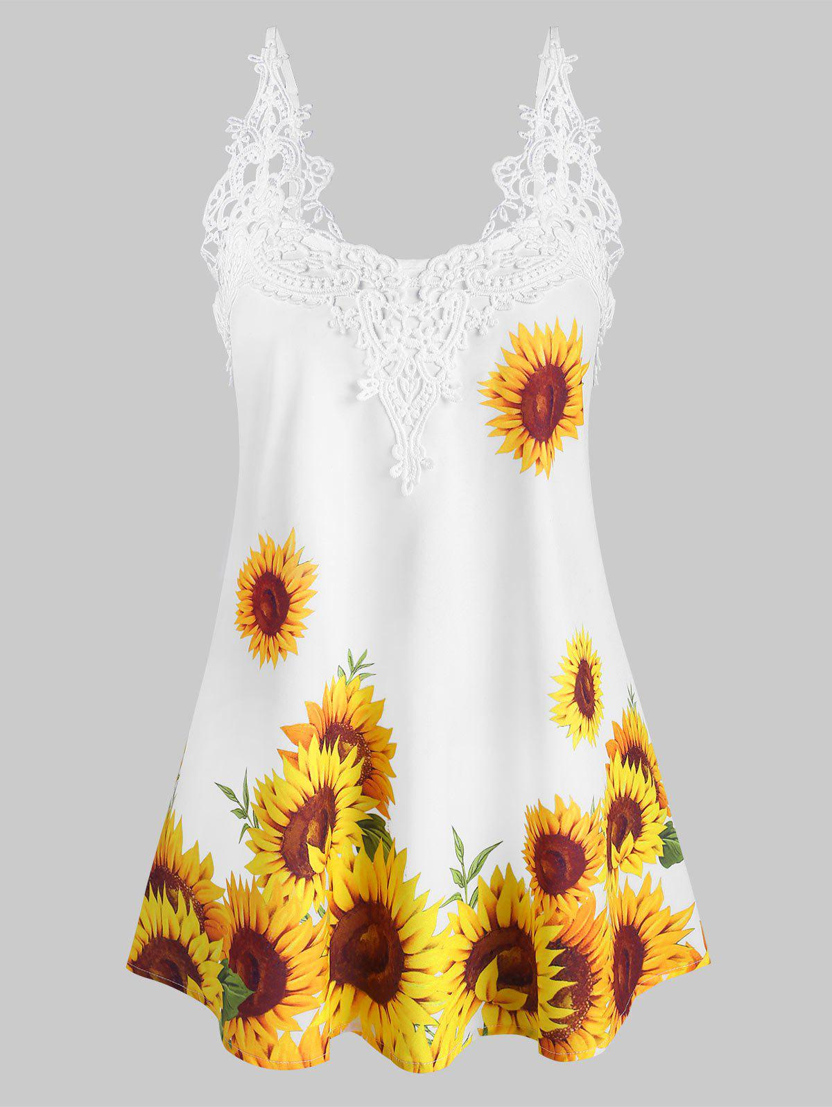 Crochet Lace Panel Sunflower Cami Top - WHITE L