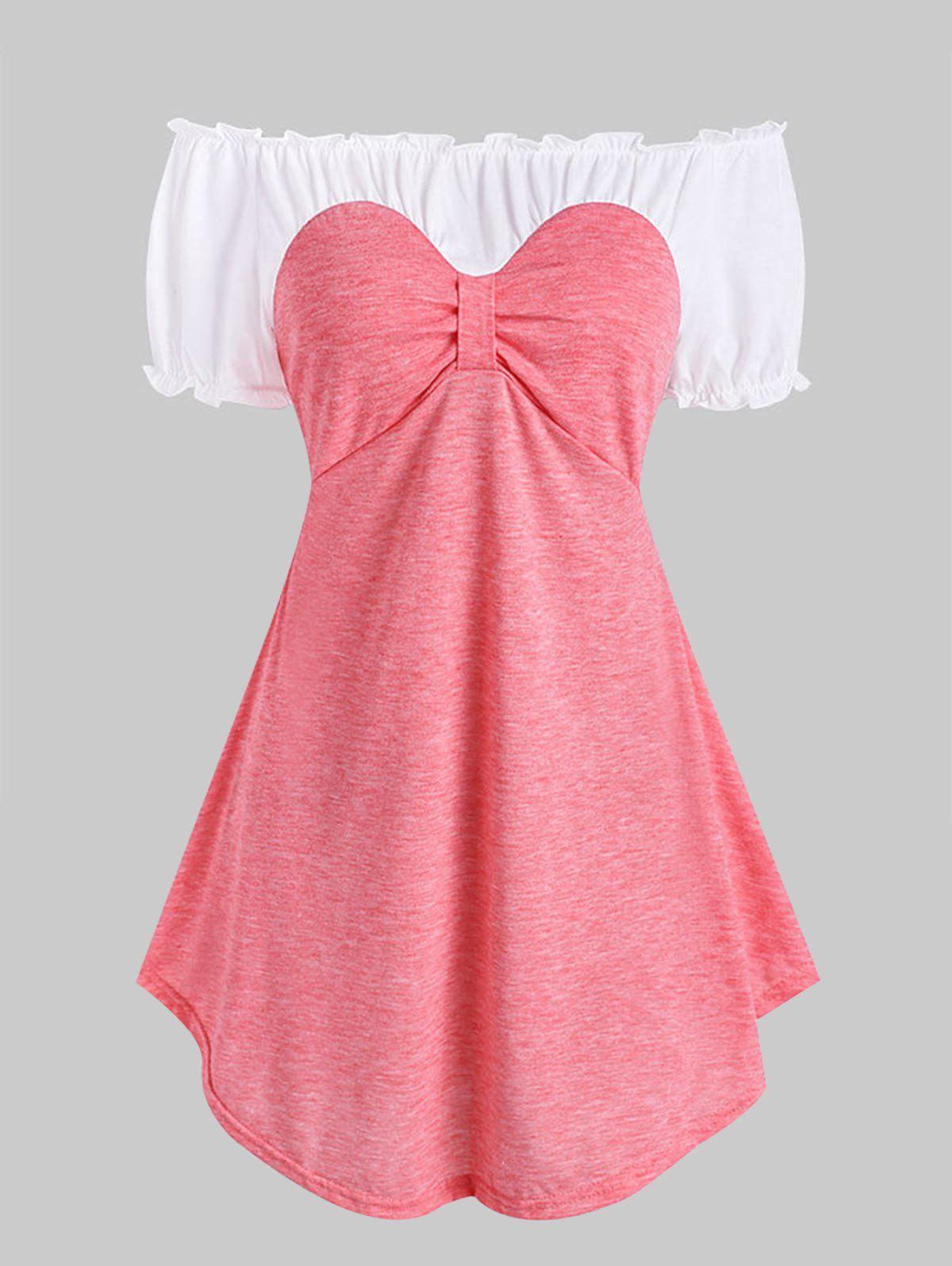 Frilled Two Tone Bow Tunic Top - LIGHT PINK 2XL