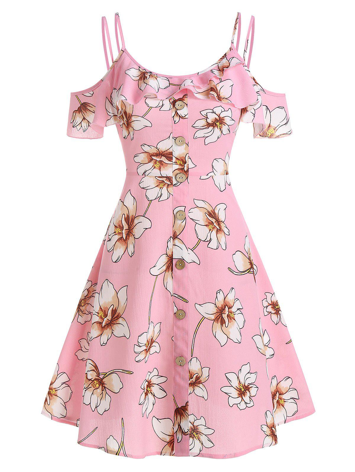 Floral Print Flounce Cold Shoulder A Line Dress - PINK M