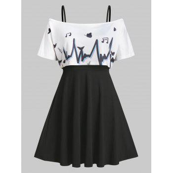 Graphic Off Shoulder Top and Cami Dress Twinset