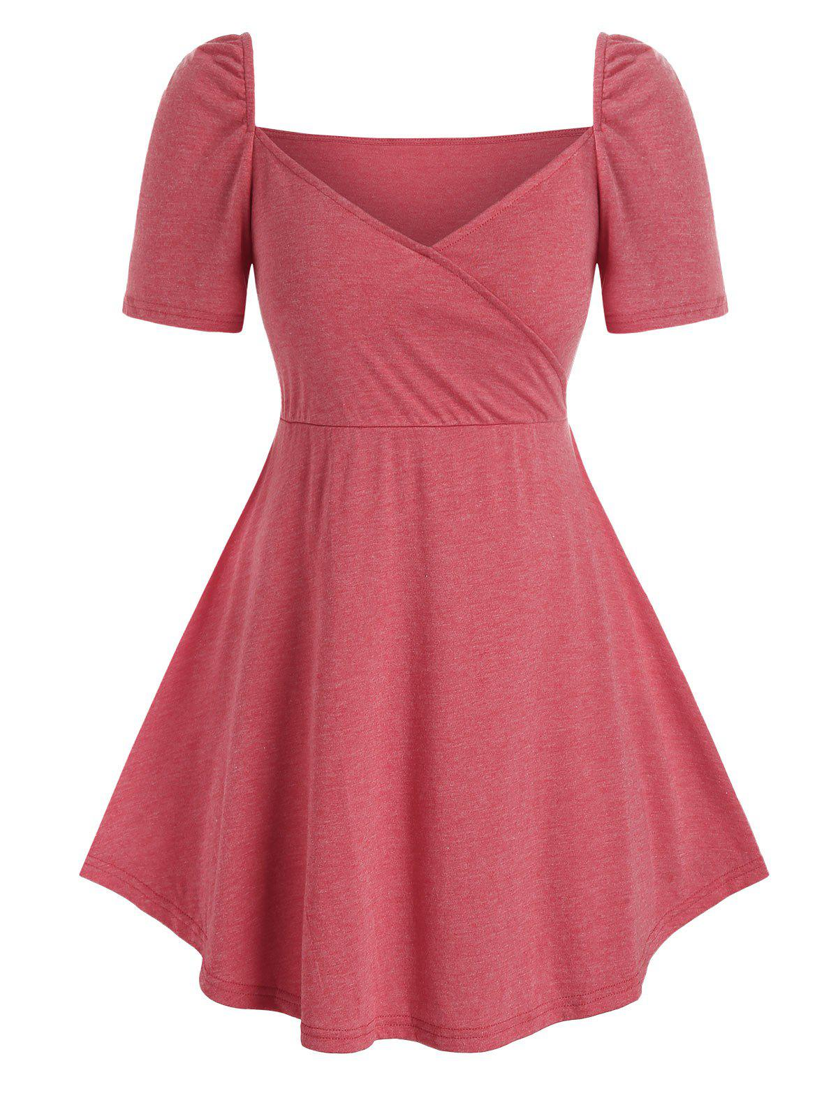 Sweetheart Neck Plus Size Skirted T Shirt - LIGHT CORAL 2X
