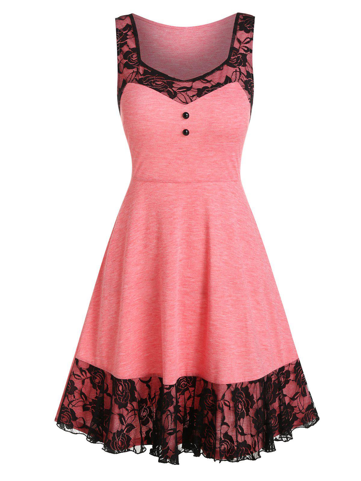 Lace Insert Mock Button Mini Sleeveless Dress - PINK ROSE L