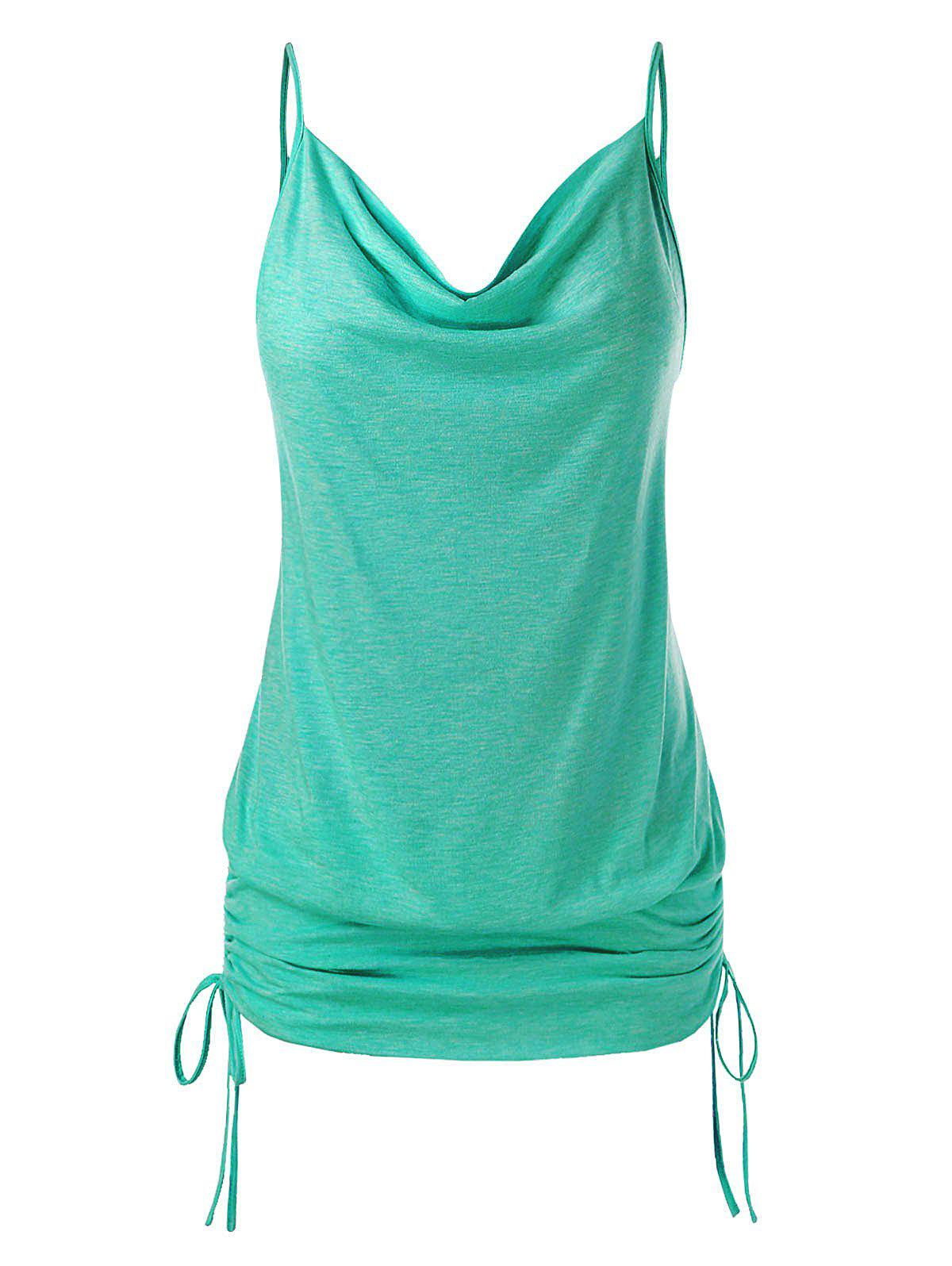 Plus Size Cowl Neck Cinched Cami Top - MACAW BLUE GREEN 3X