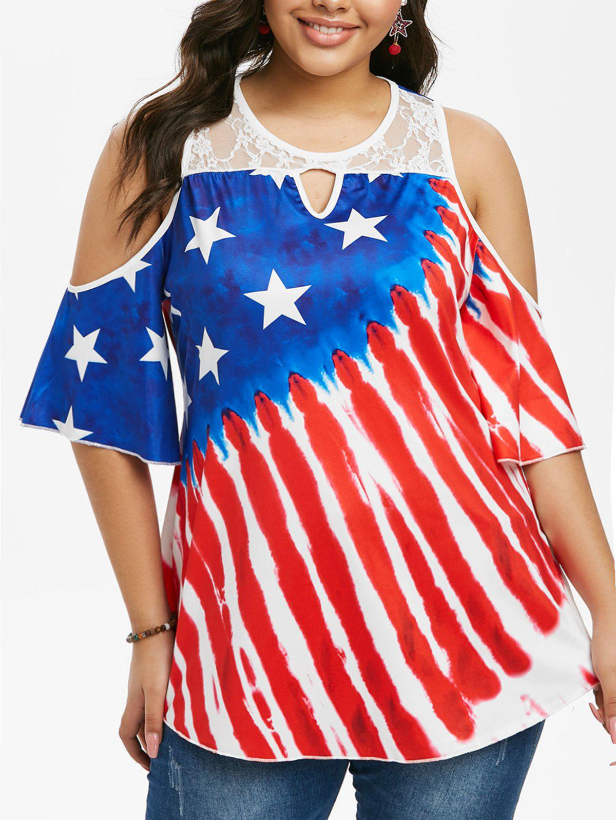 American Flag Open Shoulder Lace Panel Plus Size Top - RED L