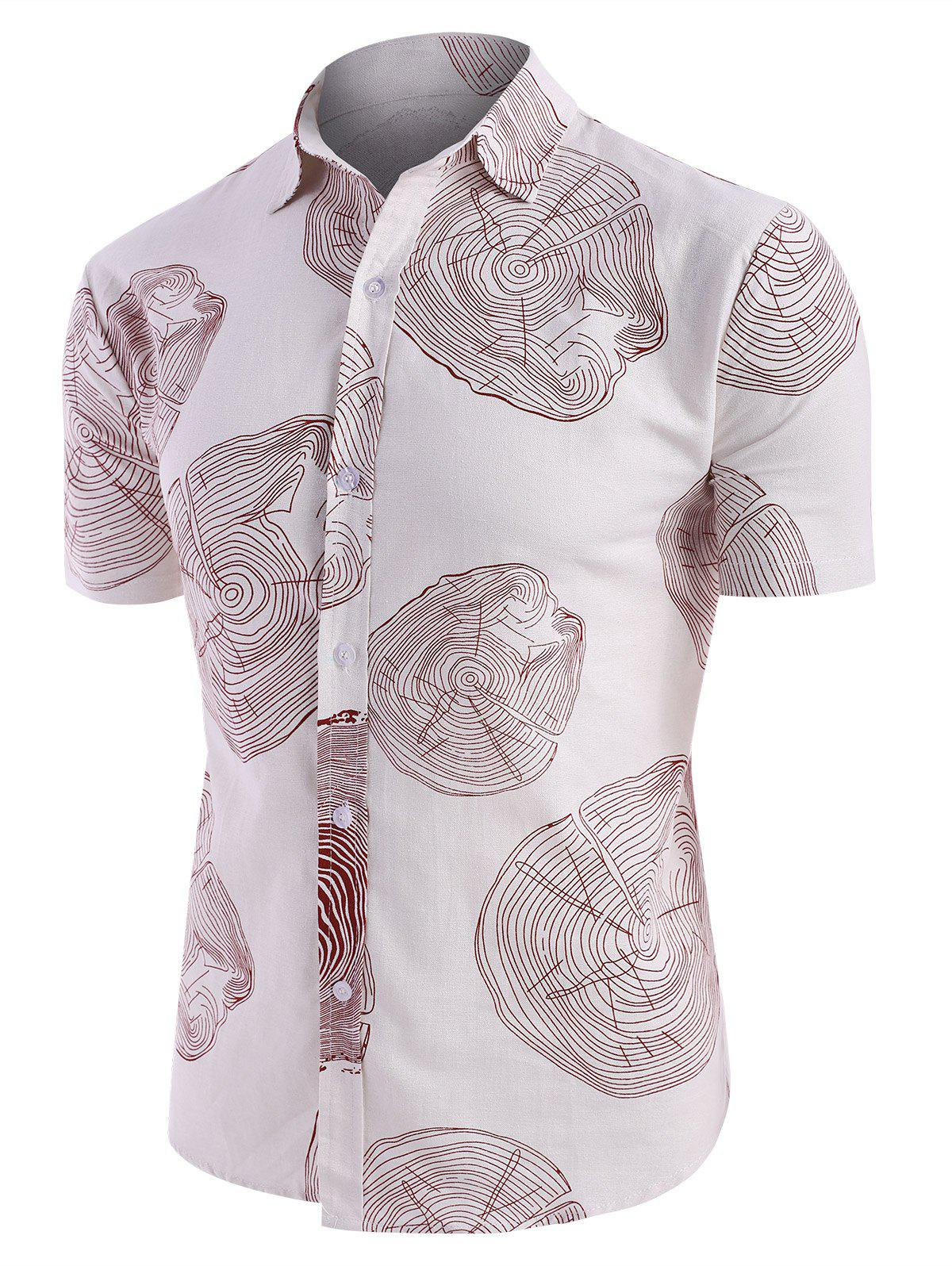 Tree Ring Print Short Sleeve Linen Shirt - multicolor B 2XL