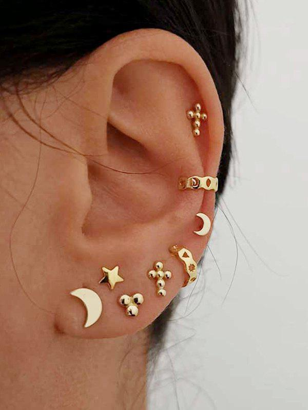 Star Moon Stud And Ear Cuff Earring Set - GOLD
