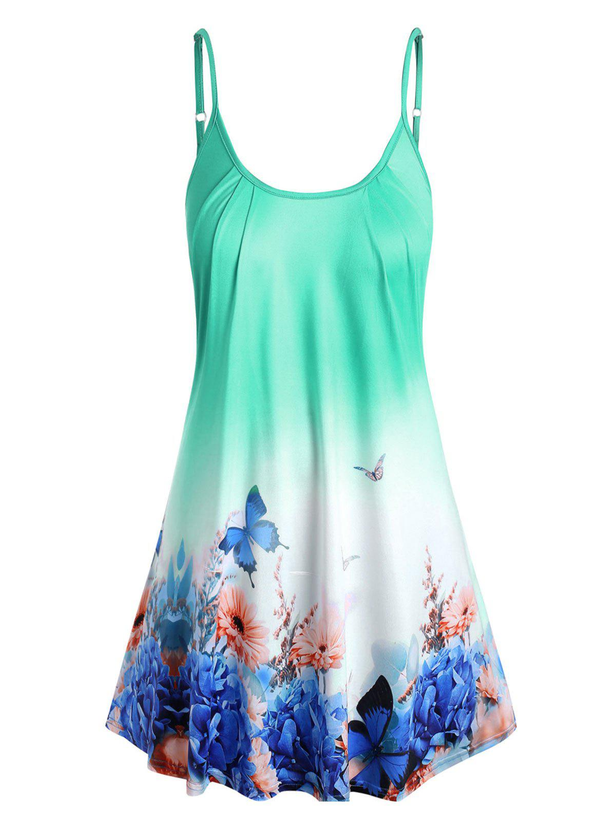 Plus Size Ombre Color Butterfly Print Tank Top - LIGHT GREEN 1X