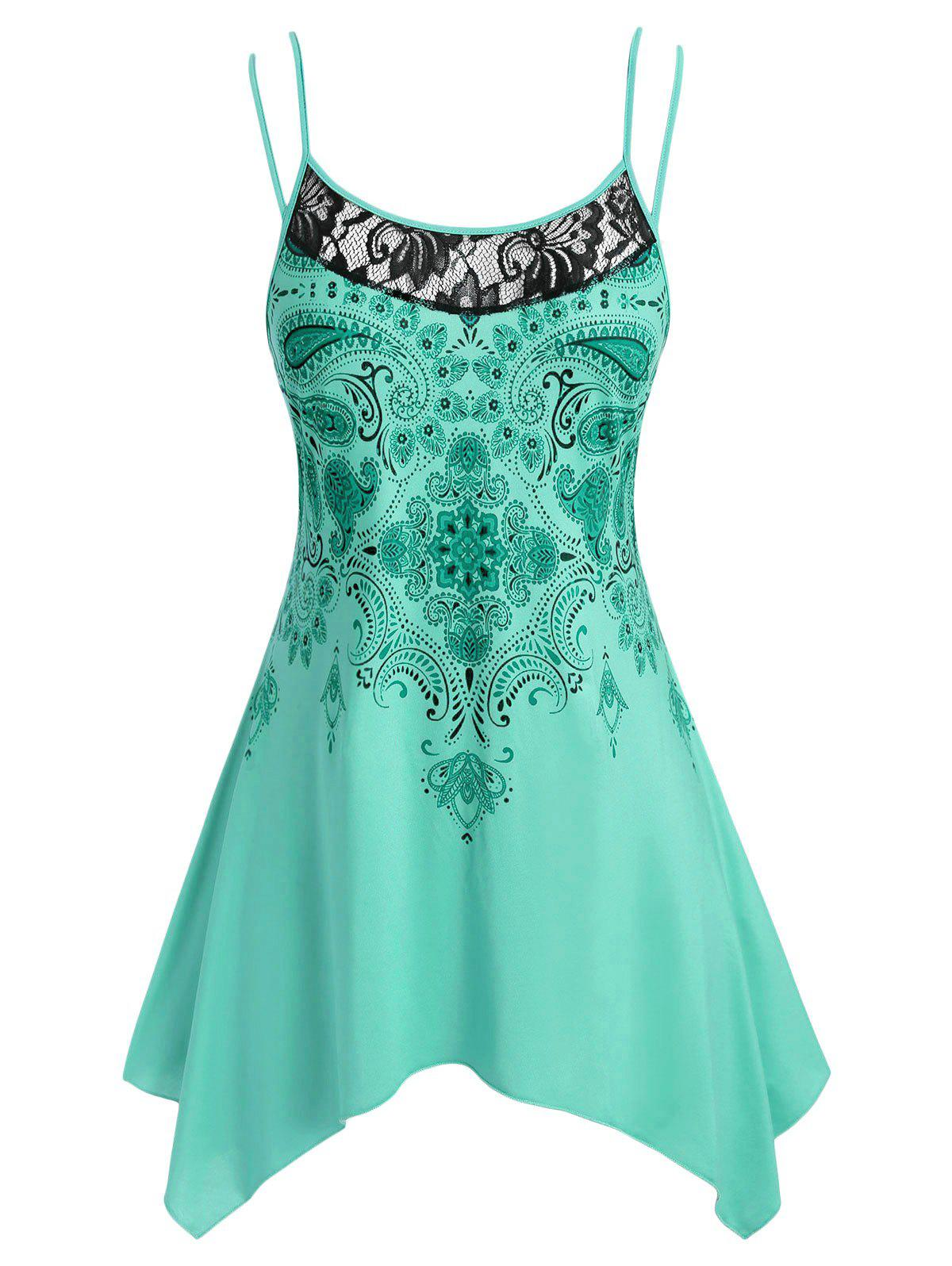 Paisley Print Lace Panel Handkerchief Plus Size Cami Top - MEDIUM TURQUOISE 3X