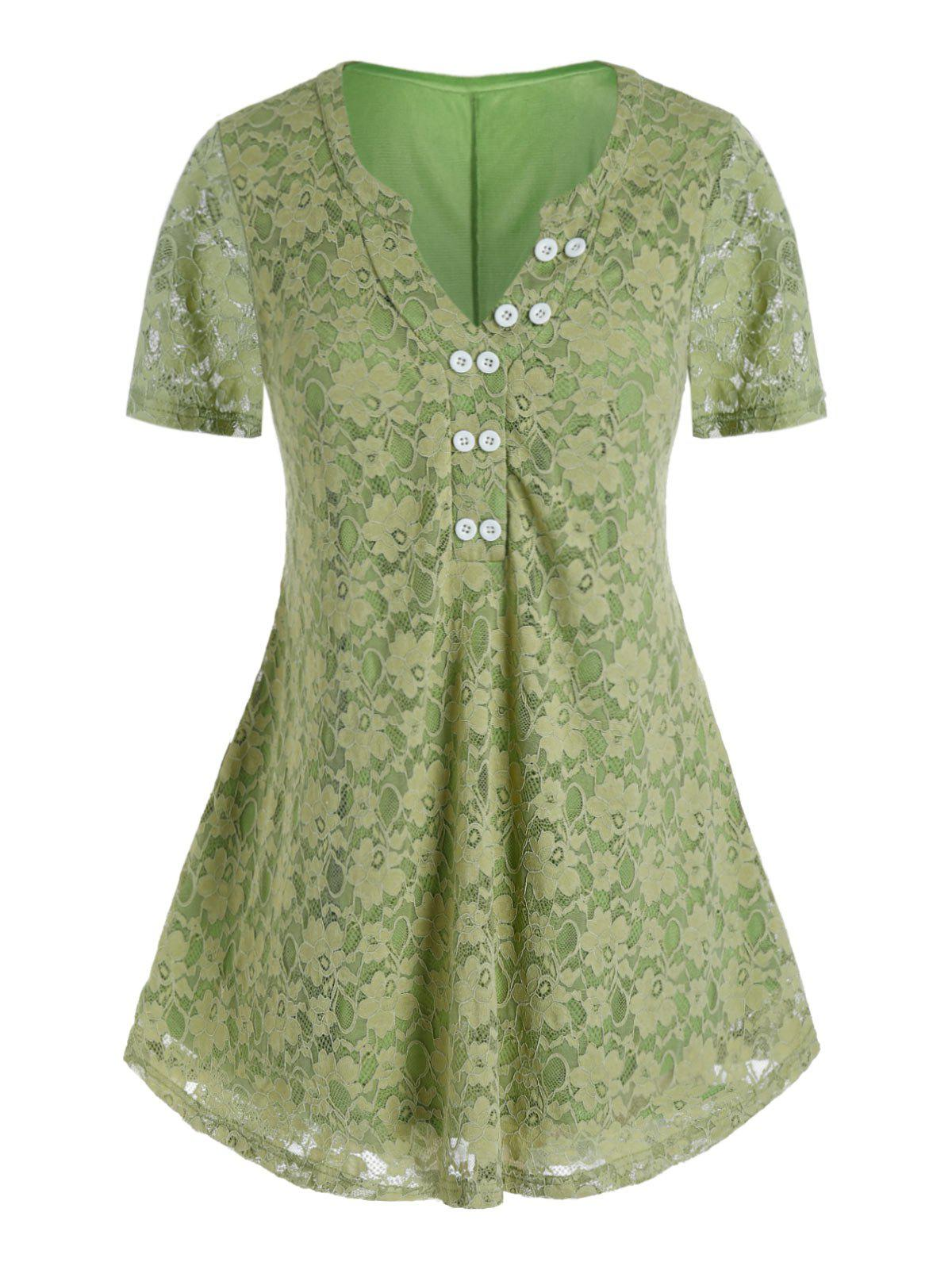 Plus Size Lace V Notch Short Sleeve Tunic Tee - CLOVER GREEN L