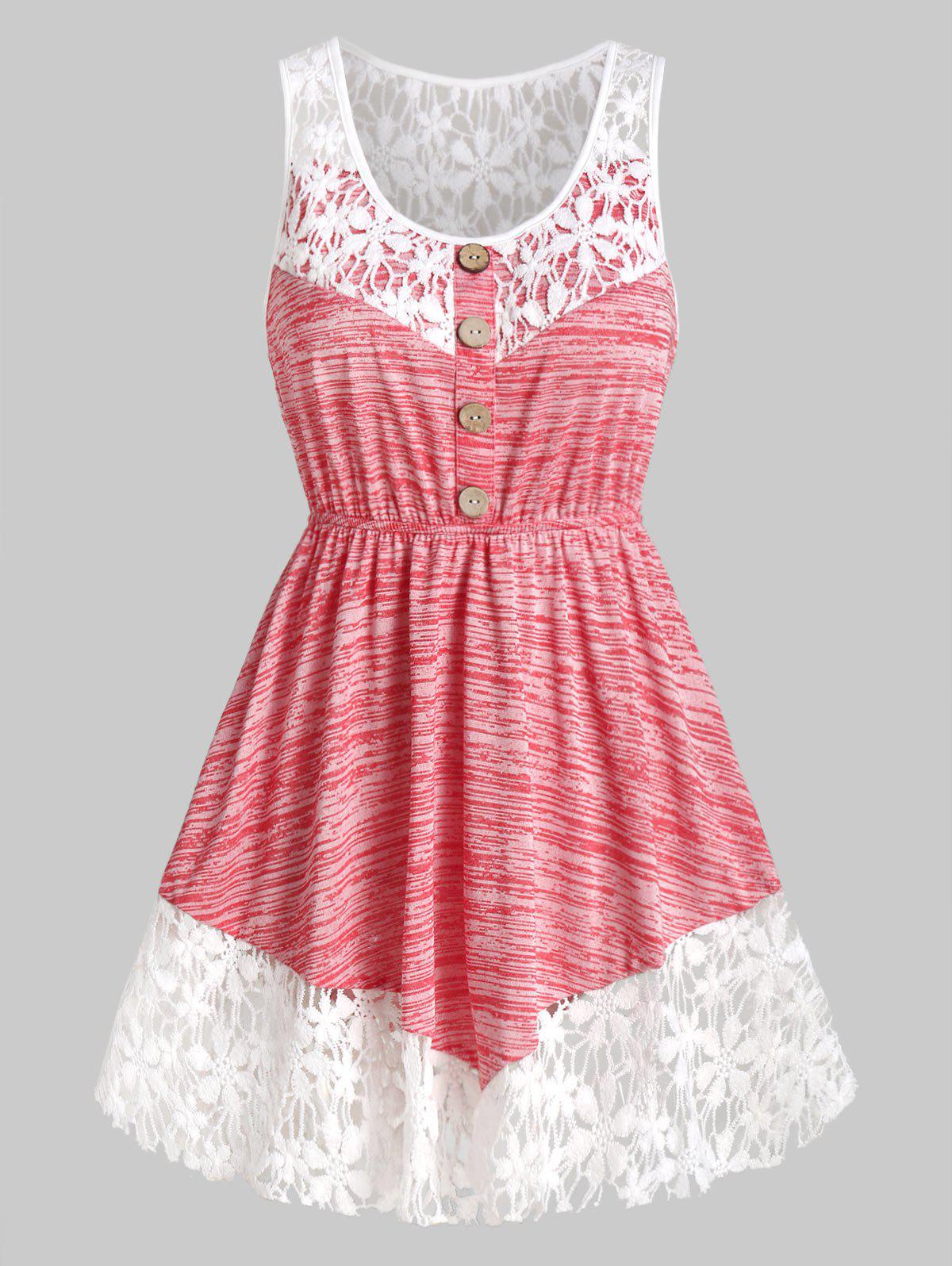 Marled Contrast Lace Tank Top - VALENTINE RED M