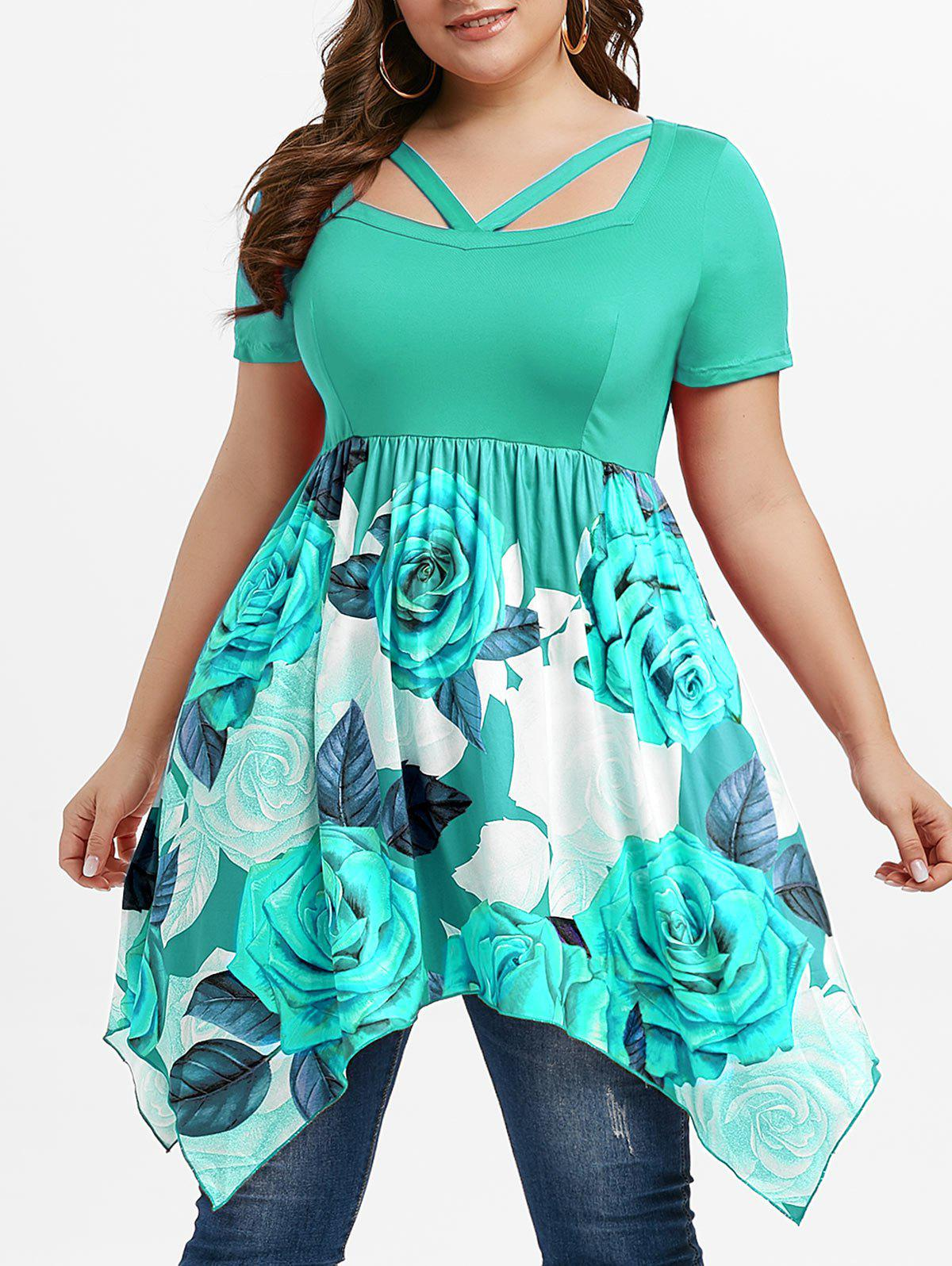 V Straps Floral Handkerchief Plus Size Top - GREEN 4X
