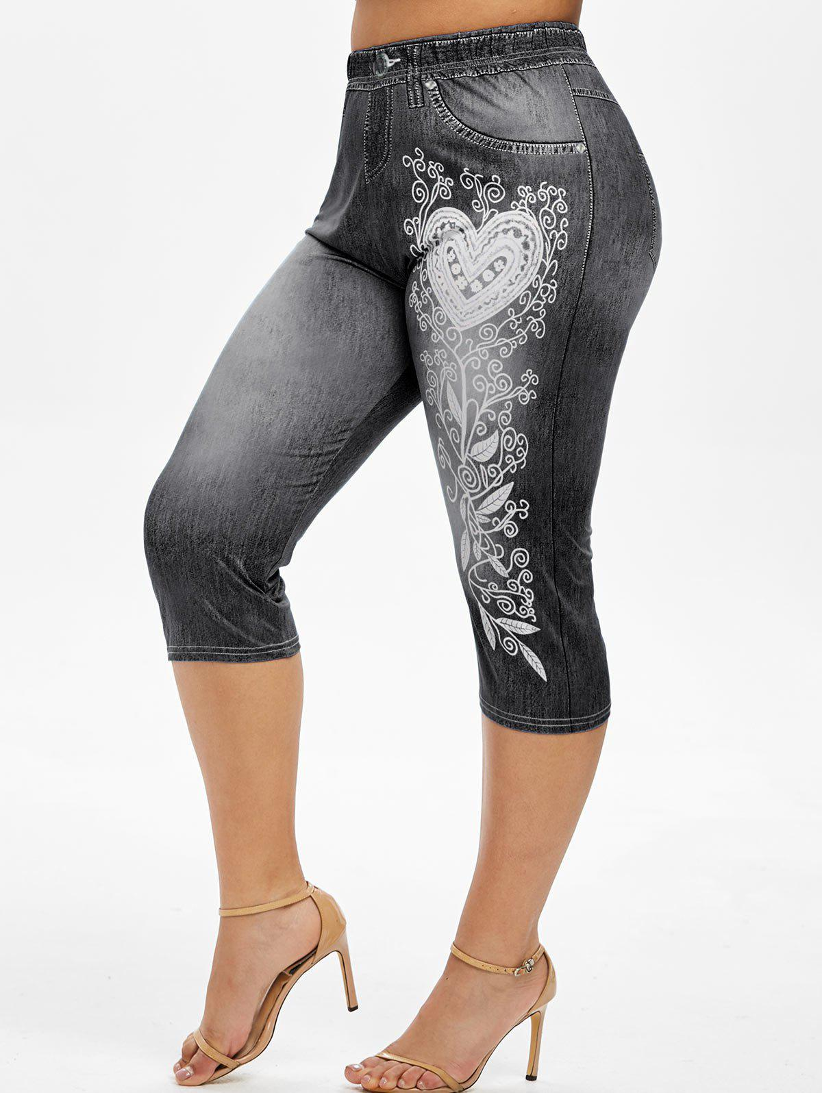 Plus Size Heart 3D Print Cropped High Rise Jeggings - BLACK 5X