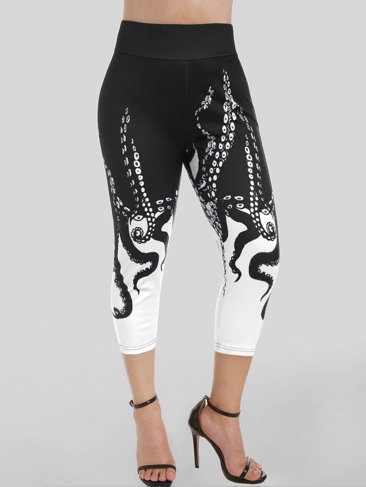 High Waisted Octopus Print Capri Skinny Leggings - BLACK M