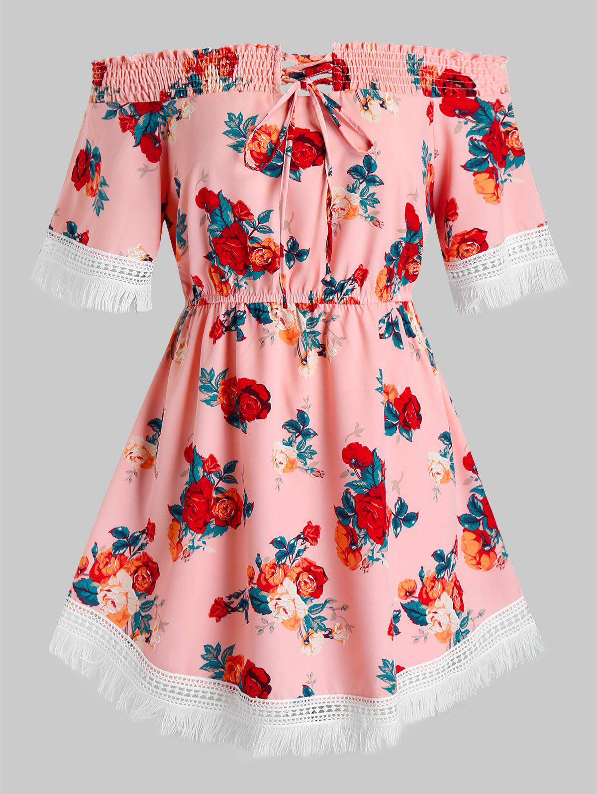 Plus Size Tunic Off The Shoulder Ditsy Print Blouse - PINK L