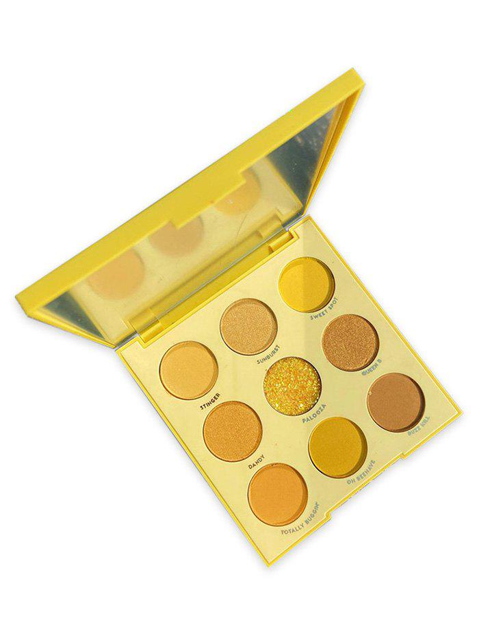9 Color Makeup Foggy Glitter Eye Shadow Palette - YELLOW