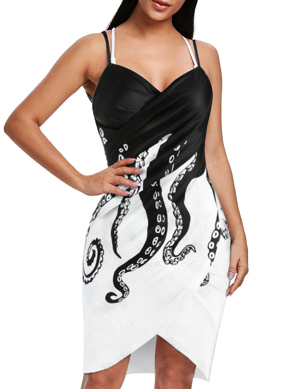Galaxy Octopus Print Spaghetti Strap Cover-up - WHITE S