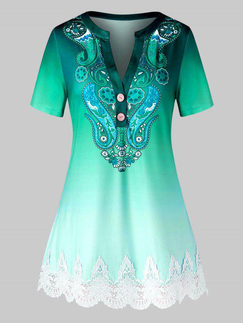 Plus Size Ombre Paisley Print Guipure Lace Short Sleeve Tee